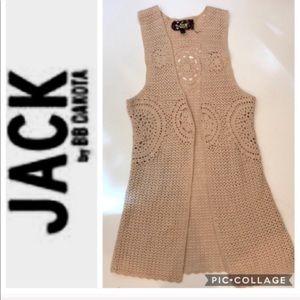 Jack BB Dakota Cream Knit Sleeveless Cardigan M